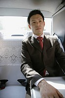 Businessman sitting in car, portrait