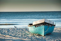 Traditional fishing boat on beach, Paternoster, Wester Cape Province, South Africa
