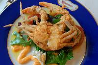 Shoft shell crab, Old Louisiana dining,at the Latil´s Landing Restaurant, Houmas House Plantation, Darrow, Louisiana, USA