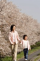 View of a mother and daughter walking
