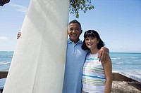 Portrait of a couple with surfboard smiling