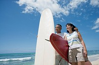 Profile of a couple with surfboards at beach