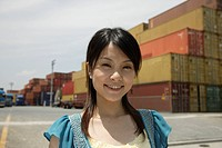 Portrait of a young woman smiling (thumbnail)
