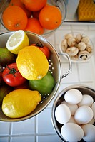Vegetables, fruit and egg in bowl