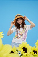 Portrait of a teenage girl wearing a hat