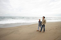 Father with son walking at beach, side view