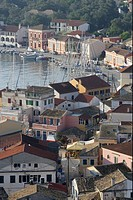 View over the roofs of port Gaios, Paxos, Ionian Islands, Greece