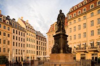 Neumarkt with statue of Friedrich II, King of Saxony, Dresden, Saxony, Germany, Europe