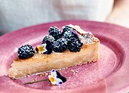 A piece of cake with blackberries.