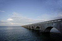 USA, Florida, Florida Keys, Old Seven Mile Bridge across sea