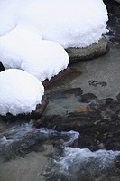 Japan, Shiga Prefecture, Snow covered rock beside stream, close_up