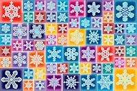 Multi colored pattern of snowflakes