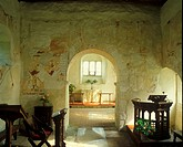 England Architecture Church Interiors Frescoes at Coombes Church, Sussex, UK c 1987