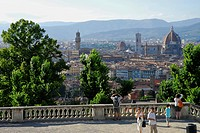 Tourists on the terrace of San Miniato al Monte, view over Florence, Florence, Tuscany, Italy, Europe