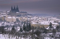 Czech Republic _ Prague Castle and Saint Vitus Cathedral in snow, Prague _ Winter