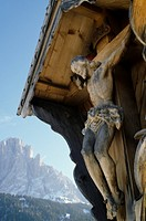 Wayside cross, Sella, Seiseralm, Dolomites, South Tyrol, Italy