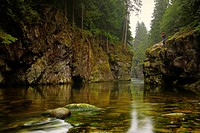 fishing in Capilano river, north vancouver, british columbia, canada