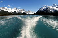 Looking back at the flowing aquawa colored water and the snow capped magnifficent Rocky mountains from a tour boat on the Maligne Lake in Jasper Natio...