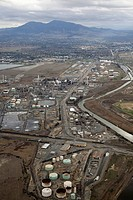 Aerial view of oil storage tanks and refinery, Concord, California, USA..