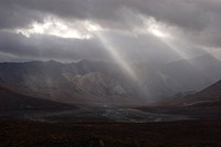 Light rays shining through rain clouds over Polychrome Pass and Toklat River Valley. Denali National Park, Alaska, North America.