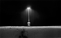 Streetllight in snow. Stockholm Sweden