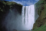 Low angle view of a waterfall, Skogafoss, Rangarvallasysla, Iceland