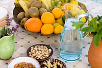Fruit and nuts on a table Andalusia Spain.