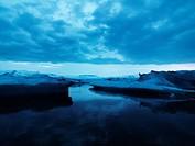Iceberg by night Jokulsrln Vatnajokull Iceland.