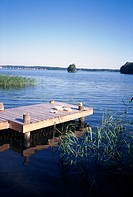 A jetty lake Malaren Sweden.