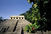 The Temple of the Inscriptions or Templo de las Inscripciones in the Mayan City of Palenque in Chiapas, Mexico