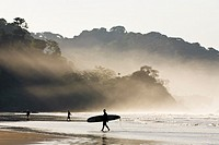 Surfers on the beach with sunlight shining through the morning mist at Playa Dominical in Puntarenas, Costa Rica