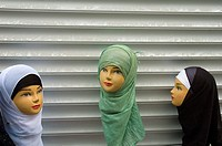 Womens head scarves at display in the Arabian district of Brussels Belgium Europe