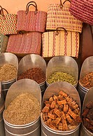 Spices and woven baskets for sale, Marrakech, Morocco