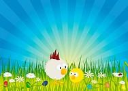 Ostern _ Küken und Hahn auf grüner Wiese