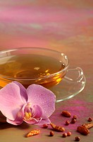 Tea and orchid blossom