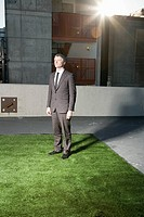 Businessman standing on grass