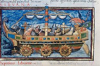 Illustration of an ox_powered paddle_wheel boat. Fifteenth century manuscript based on a description in 4th century anonymous Roman military treatise ...
