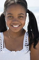 African american girl with pigtails