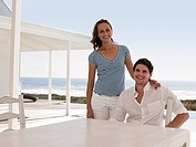 Couple at beach house
