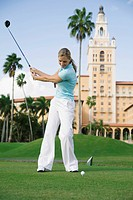 Golfer playing golf in a golf course, Biltmore Golf Course, Biltmore Hotel, Coral Gables, Florida, USA