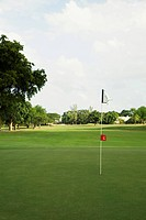 Golf flag in a golf course, Biltmore Golf Course, Coral Gables, Florida, USA