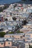 High angle view of buildings in a city, San Francisco, California, USA