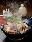 Nabe Hot pot with seafood and vegetables