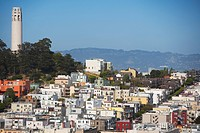 Buildings in a city, Coit Tower, San Francisco, California, USA