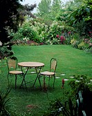 Summer, lawn, garden furniture + border