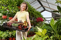 Woman carrying a tray of plants