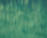 Green reflection on surface of a lake