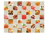 Montage of different foods in a grid
