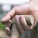 Hand holding garden tool
