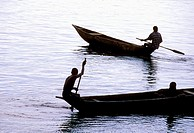 Canoes on Lobe river, Kribi, South Province, Cameroon